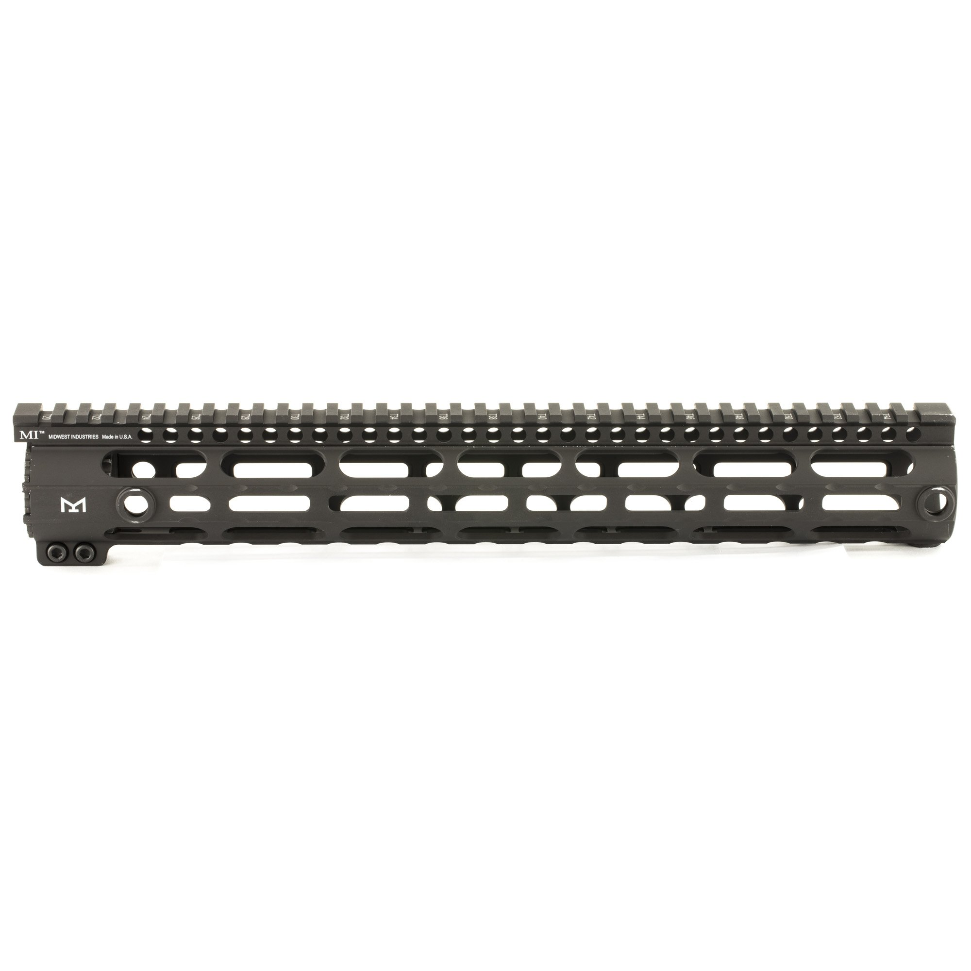 15 inch black Midwest Industries 308 SS Series One Piece Free Float DPMS M-LOK Handguard, .210 Upper Tang